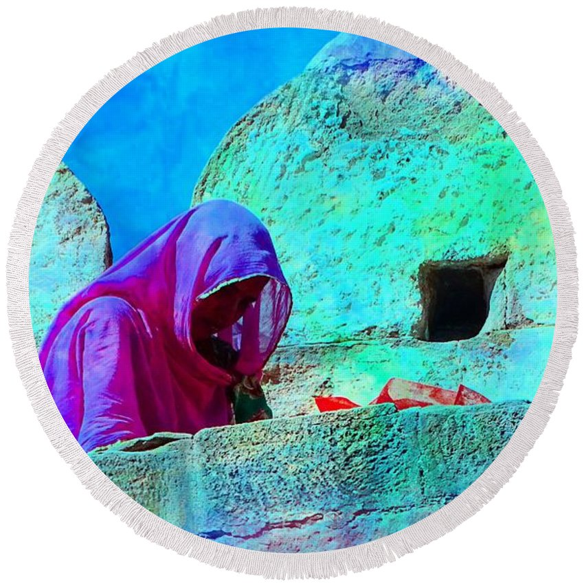 Travel Photography Round Beach Towel featuring the photograph Travel Exotic Woman On Ramparts Mehrangarh Fort India Rajasthan 1e by Sue Jacobi