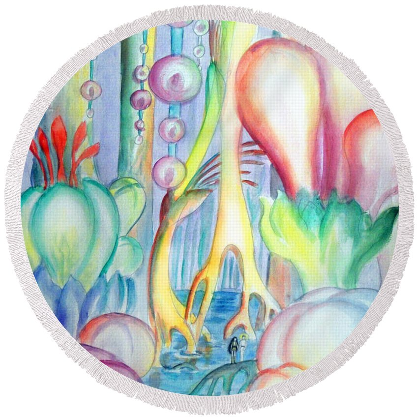 Flowers Round Beach Towel featuring the painting Travel To Planet Of Ball-shaped Flowers by Sofia Metal Queen