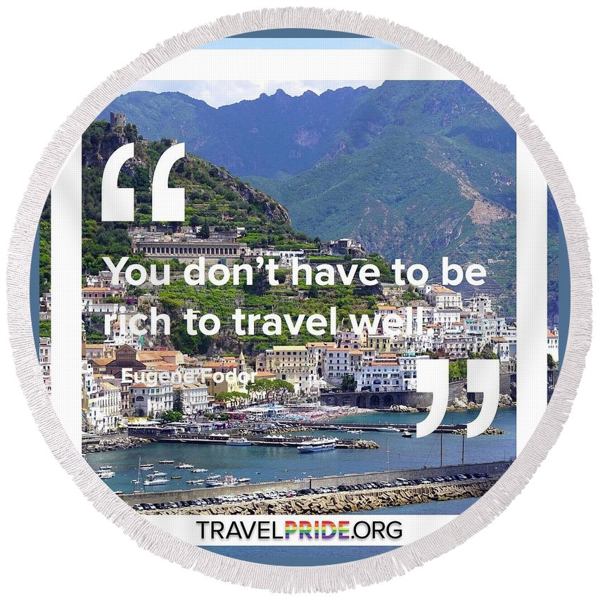 Travel Round Beach Towel featuring the digital art Travel Well by Travel Pride