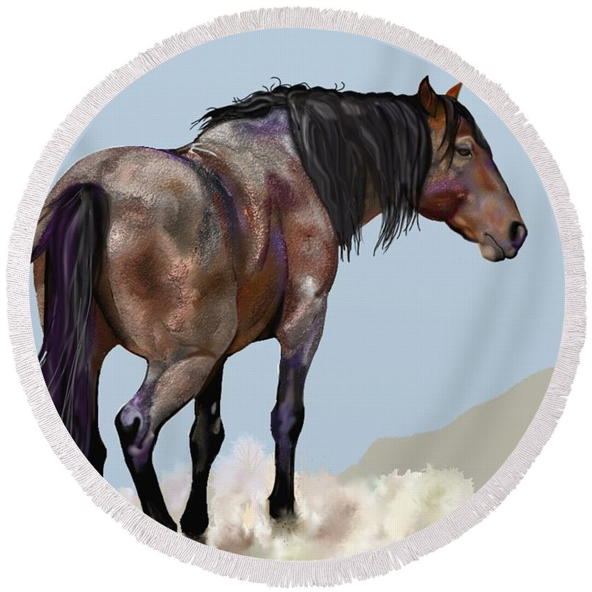 Horse Round Beach Towel featuring the painting Traveler by Marie Clark