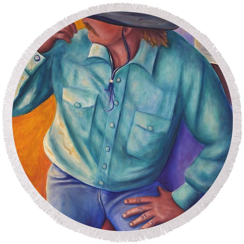 Cowboy Round Beach Towel featuring the painting Travelin Man by Shannon Grissom