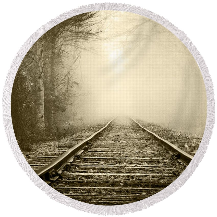 Appalachia Round Beach Towel featuring the photograph Traveling On The Tracks Antique by Debra and Dave Vanderlaan