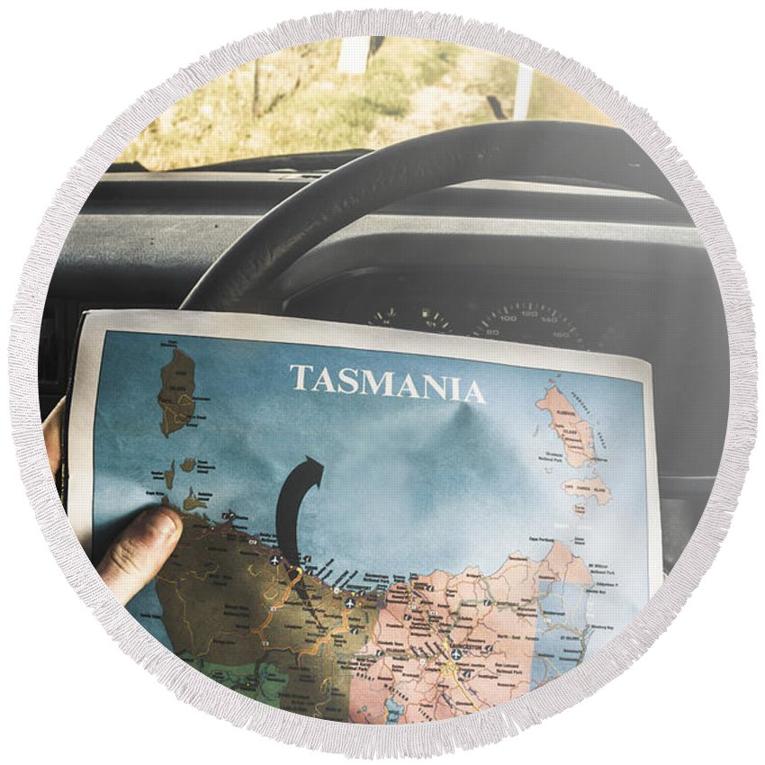 Tasmania Round Beach Towel featuring the photograph Travelling Tourist With Map Of Tasmania by Jorgo Photography - Wall Art Gallery