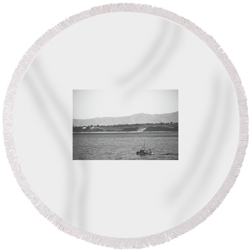 Ocean Round Beach Towel featuring the photograph Trawling Monterey by Jeffrey H