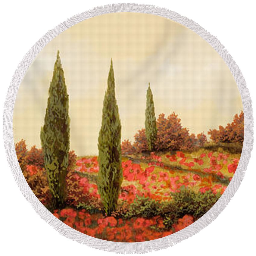 Landscape Round Beach Towel featuring the painting Tre Case Tra I Papaveri Rossi by Guido Borelli