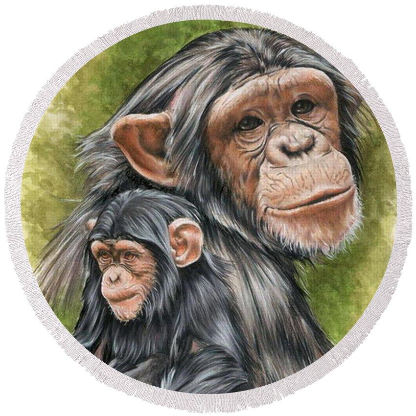 Chimpanzee Round Beach Towel featuring the mixed media Treasure by Barbara Keith