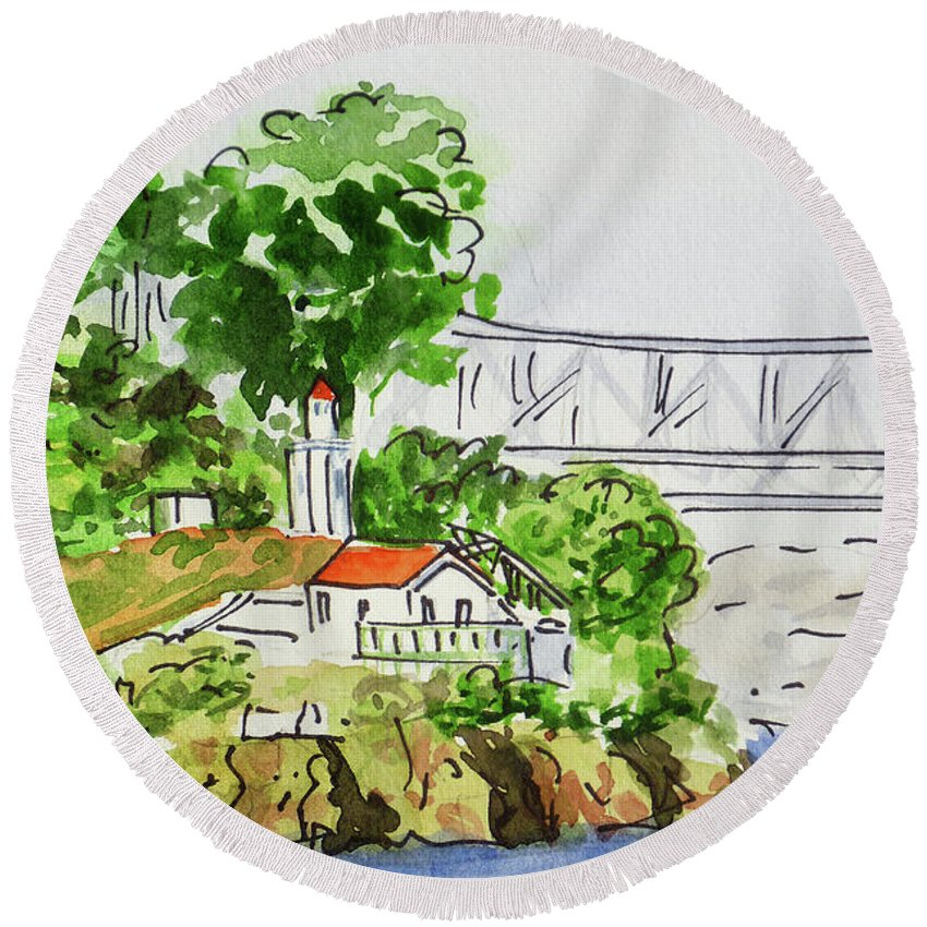San Francisco Round Beach Towel featuring the painting Treasure Island - California Sketchbook Project by Irina Sztukowski