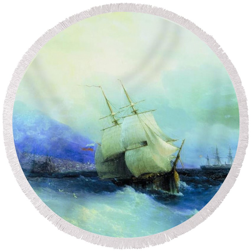 Trebizond From The Sea 1875 61h94 Ivan Konstantinovich Aivazovsky Round Beach Towel featuring the digital art Trebizond From The Sea 1875 61h94 Ivan Konstantinovich Aivazovsky by Eloisa Mannion