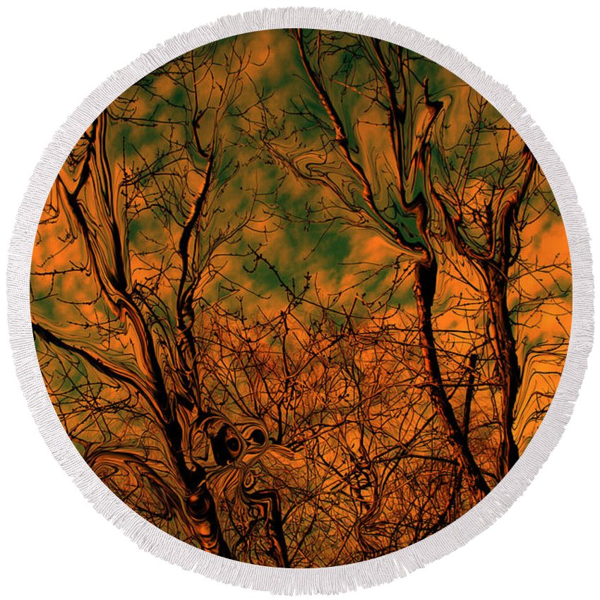 Trees Round Beach Towel featuring the photograph Tree Abstract by Linda Sannuti