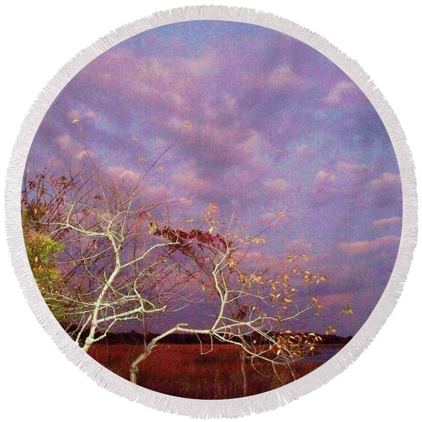 Trees Round Beach Towel featuring the painting Tree And Sky At Cape May Point State Park Nj by Eric Schiabor