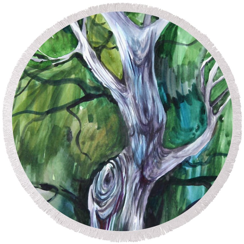Watercolor Round Beach Towel featuring the painting Tree by Anna Duyunova