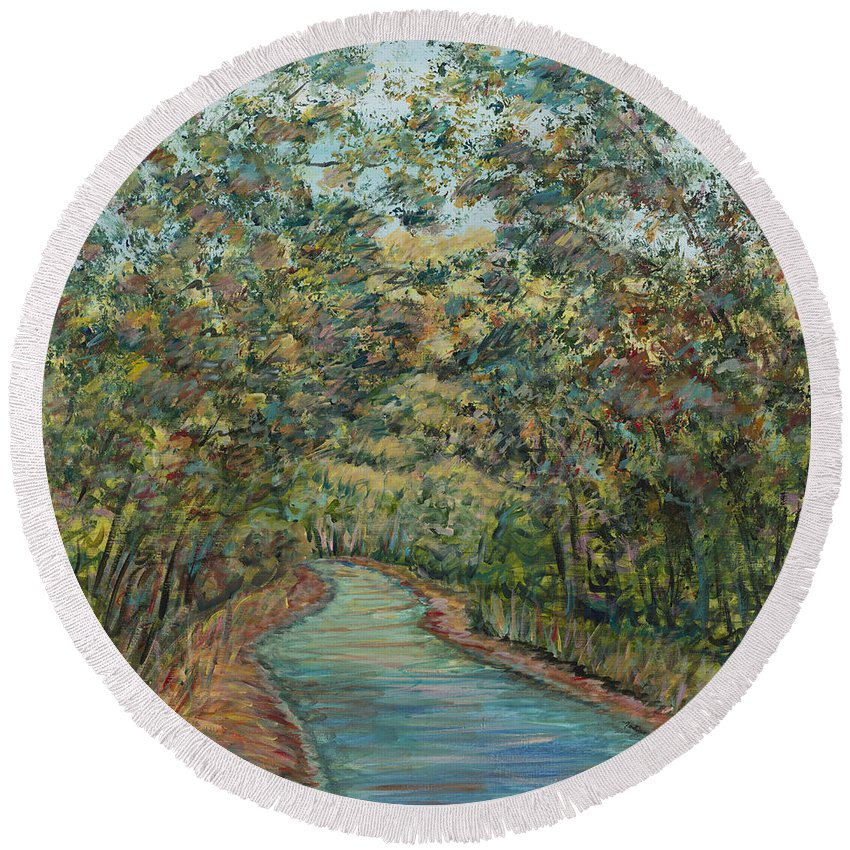 Arched Round Beach Towel featuring the painting Tree Arched Road by Nadine Rippelmeyer