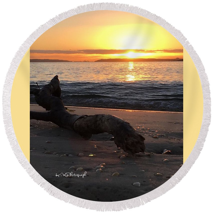 Sunrise Round Beach Towel featuring the photograph Tree Branche by Koula Xexenis