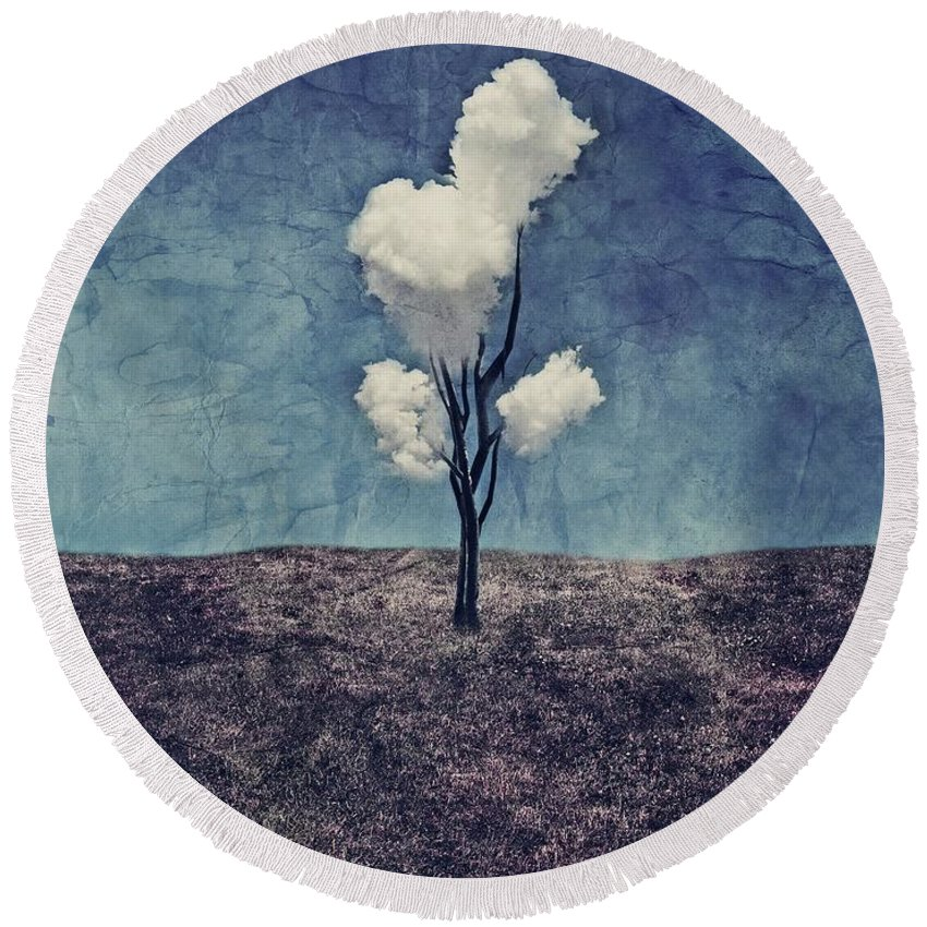 Tree Round Beach Towel featuring the digital art Tree Clouds 01d2 by Aimelle