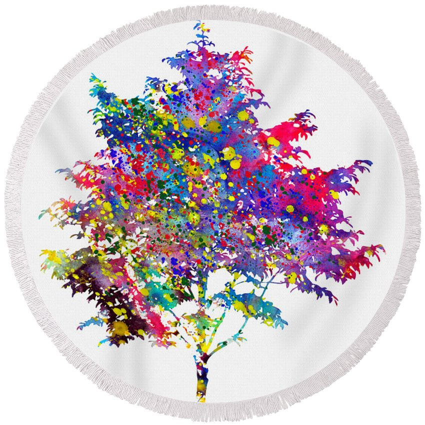 Tree Round Beach Towel featuring the digital art Tree-colorful by Erzebet S