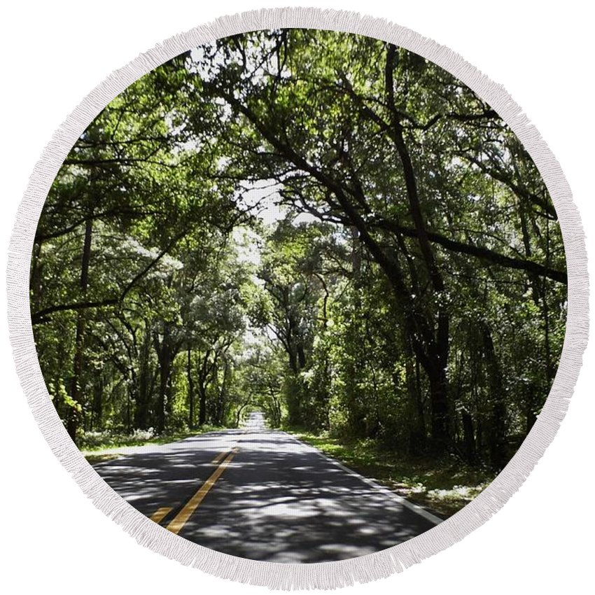 Shady Round Beach Towel featuring the photograph Tree Covered Road by D Hackett