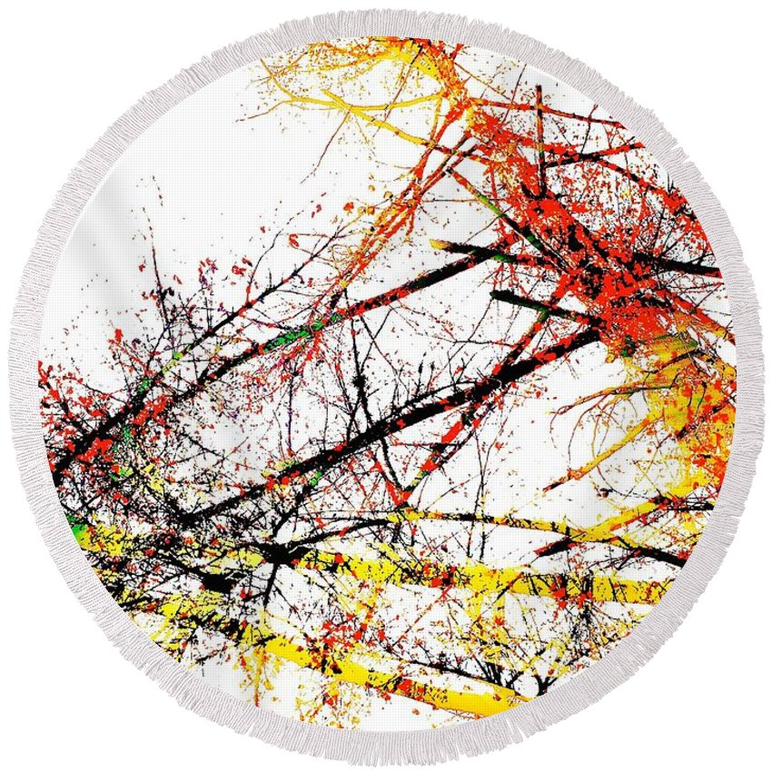 Abstract Art Round Beach Towel featuring the photograph The Big Fall by David Coleman
