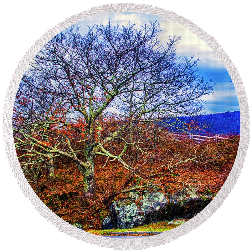 Autumn Leaves Round Beach Towel featuring the photograph Tree Fan by Roberta Bragan