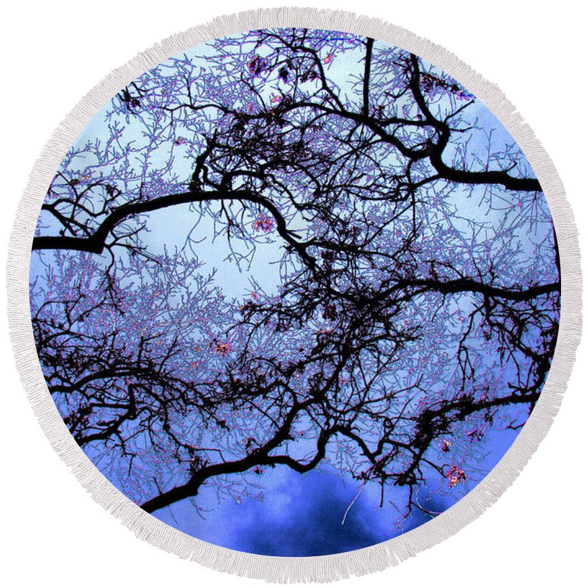 Scenic Round Beach Towel featuring the photograph Tree Fantasy In Blue by Lee Santa