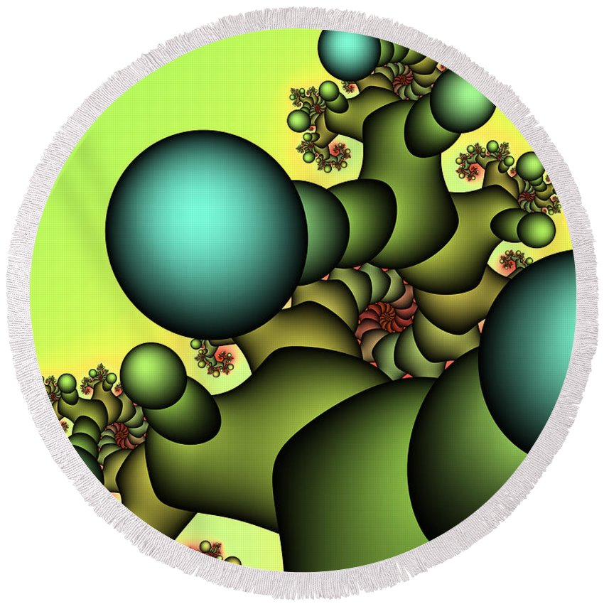 Fractal Round Beach Towel featuring the digital art Tree Giant by Jutta Maria Pusl