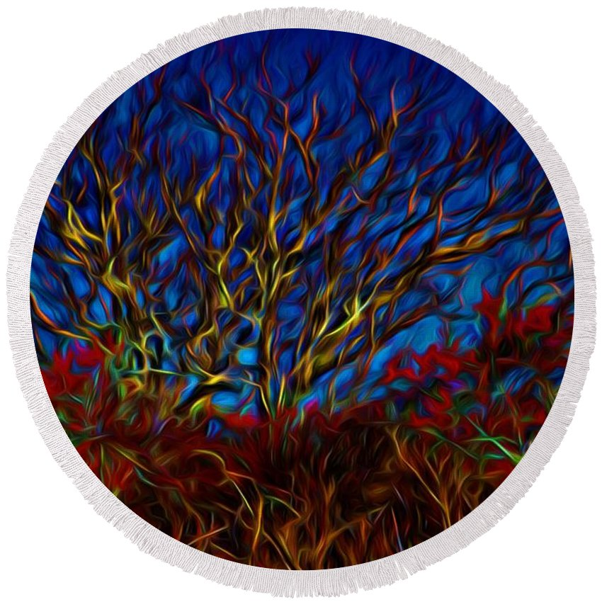 Colorful Tree Round Beach Towel featuring the painting Tree Glow In The Dark by Lilia D