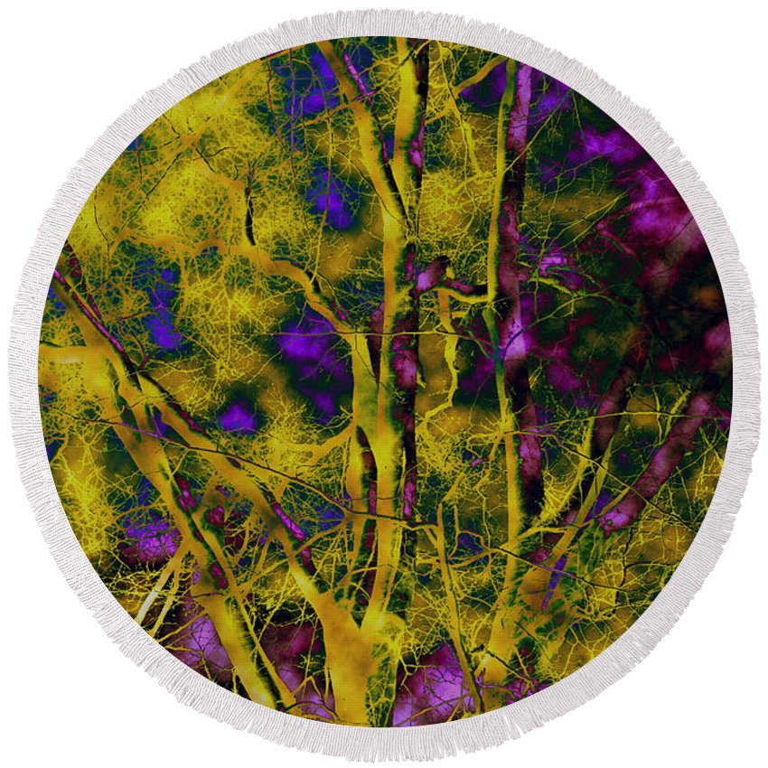 Abstract Round Beach Towel featuring the photograph Tree Glow by Linda Sannuti