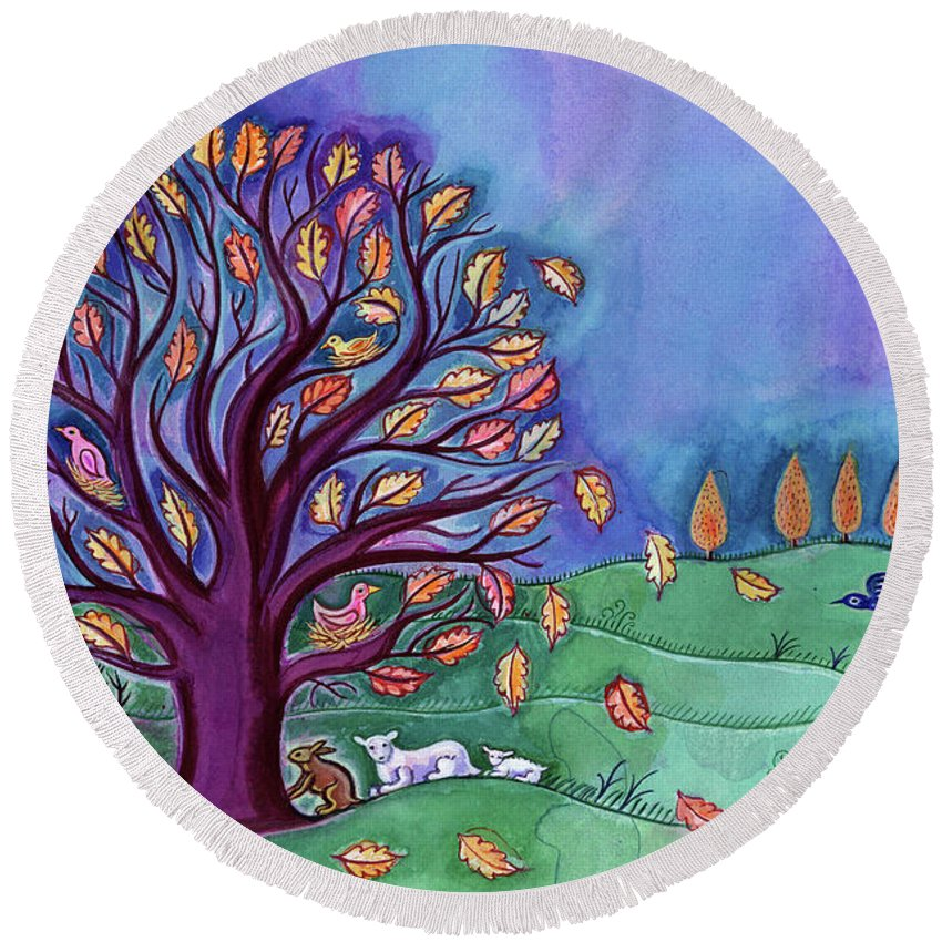 Trees Round Beach Towel featuring the painting Tree In Autumn by Jane Tattersfield