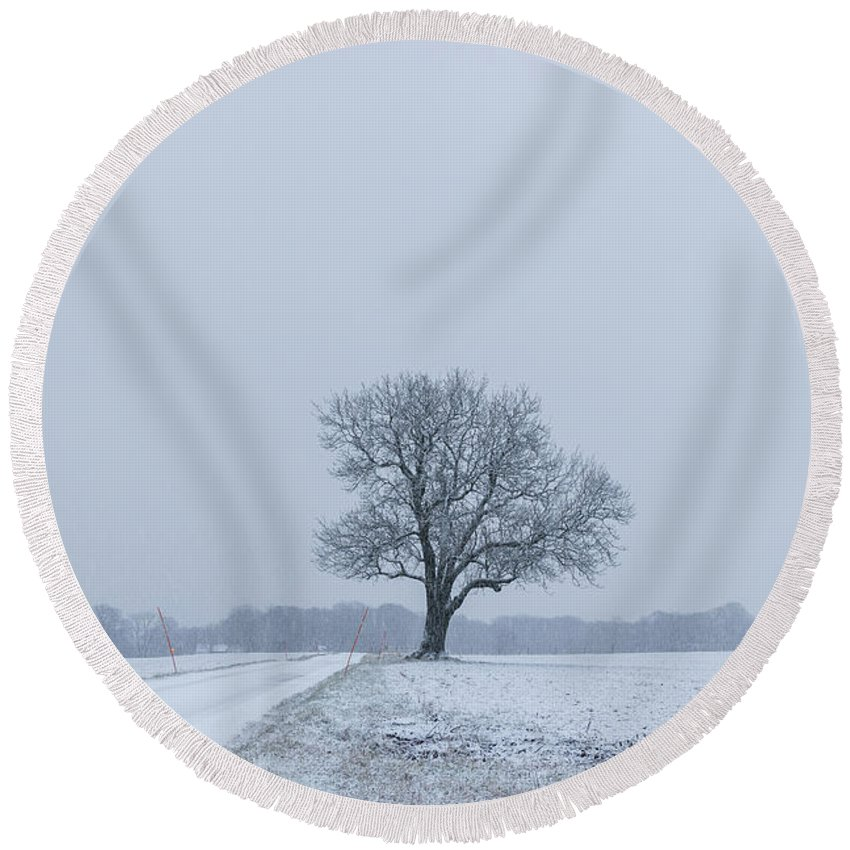 Tree Round Beach Towel featuring the photograph Tree In Heavy Snow by Andreas Hoff