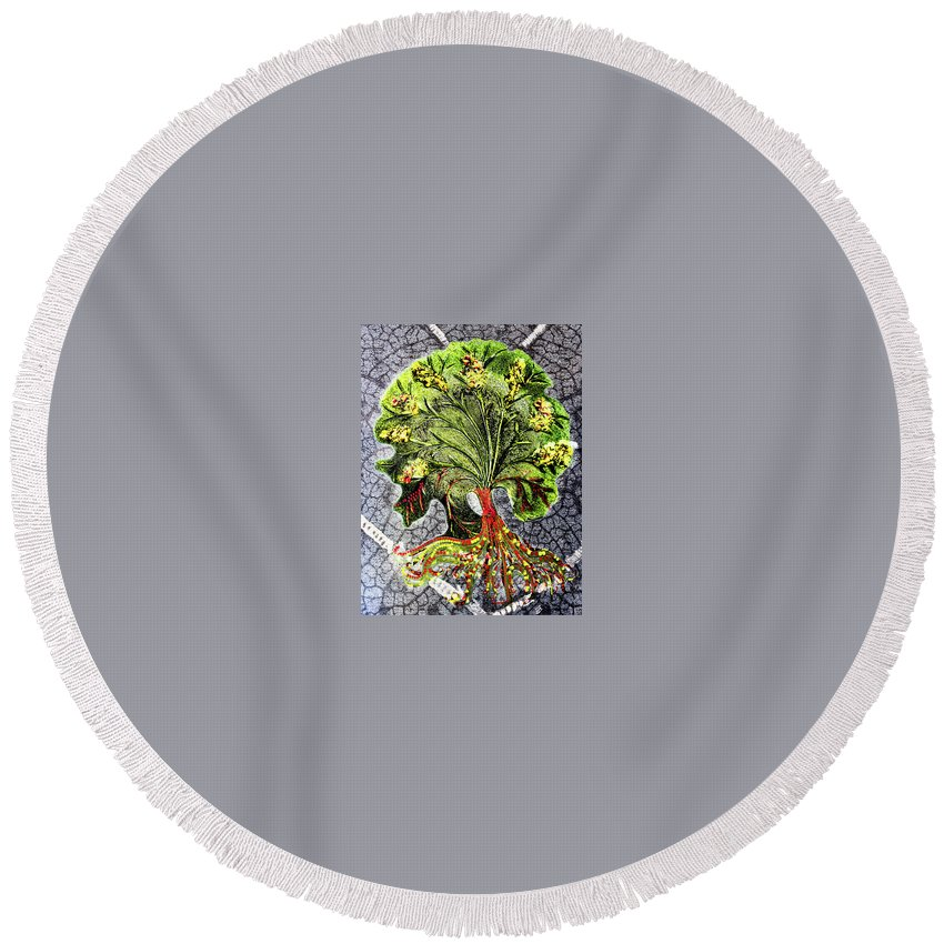 Tree Round Beach Towel featuring the digital art Tree In The Garden On Aluminum Substate by Sterling Haidt