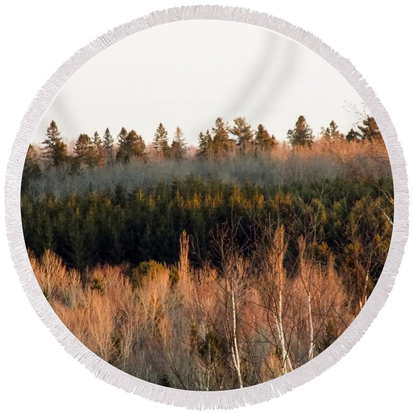 Trees Round Beach Towel featuring the photograph Tree Layer Cake by William Tasker