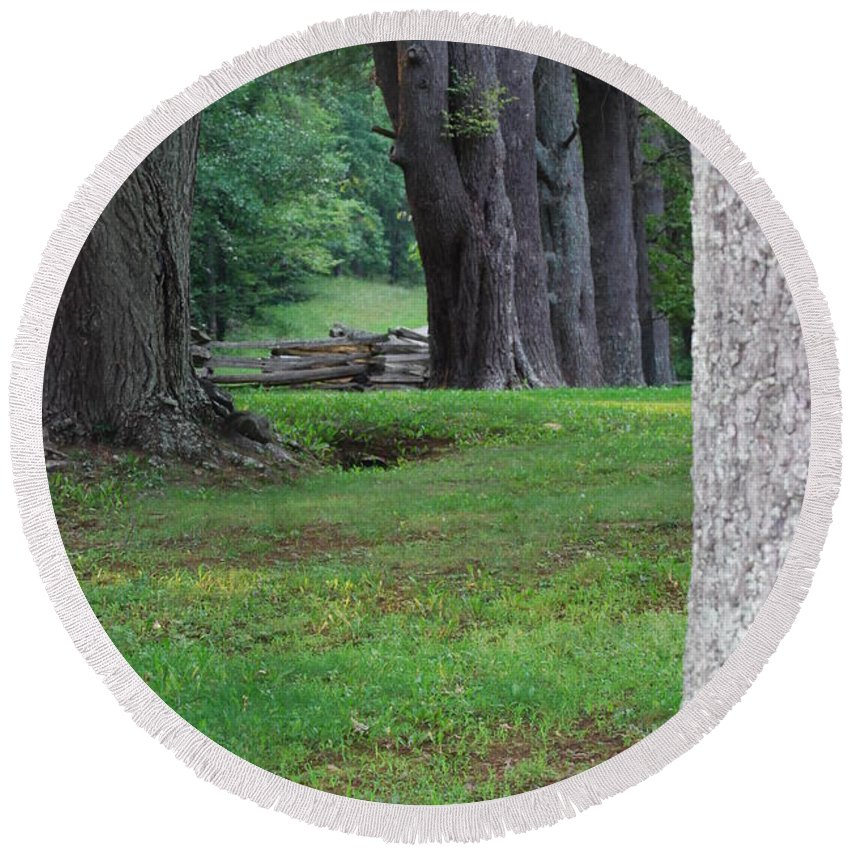 Trees Round Beach Towel featuring the photograph Tree Line by Eric Liller