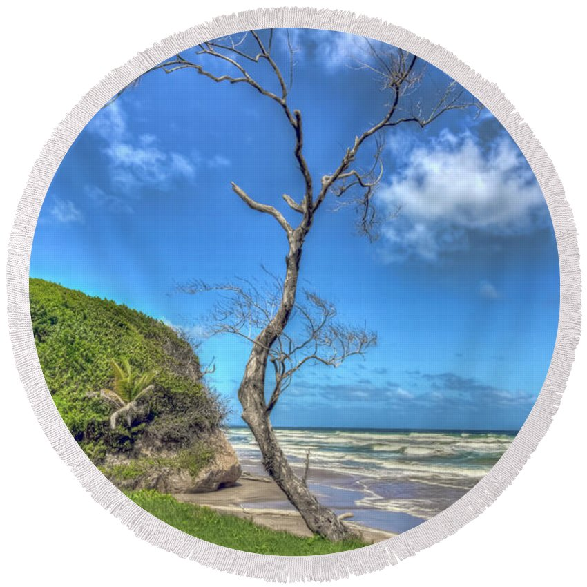 Beach Round Beach Towel featuring the photograph Tree Of Clouds by Nadia Sanowar