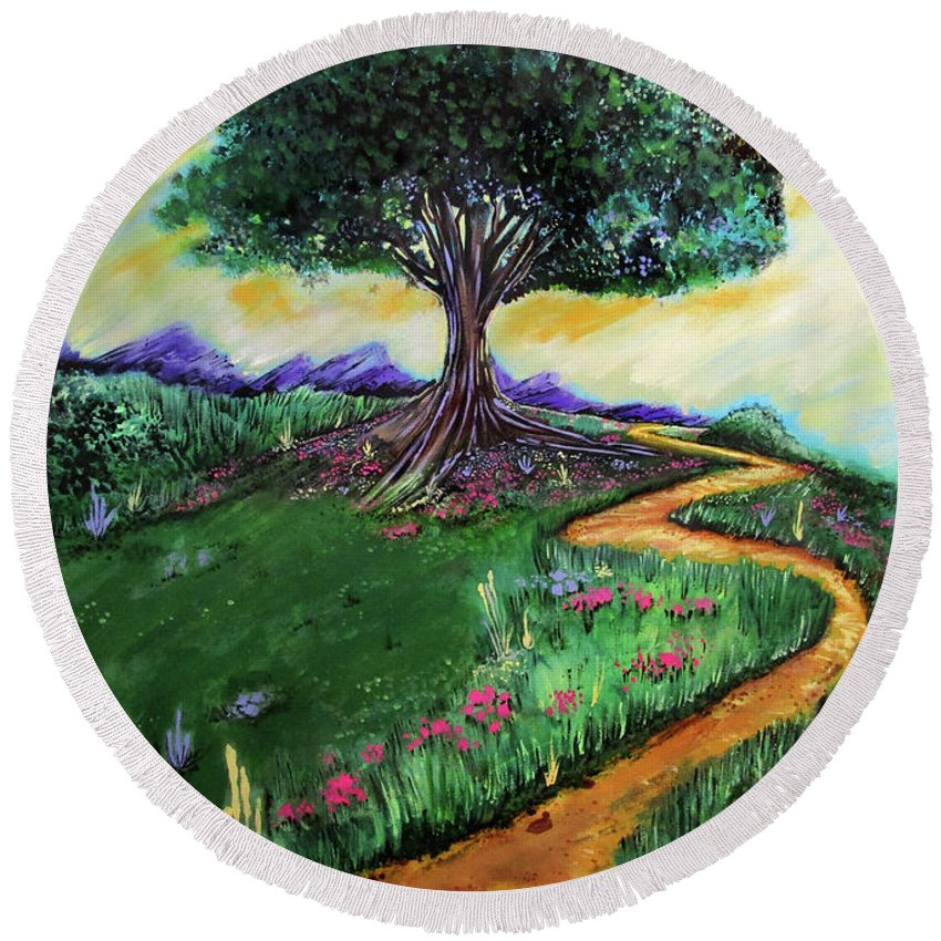 Tree Round Beach Towel featuring the painting Tree Of Imagination by Adam Santana