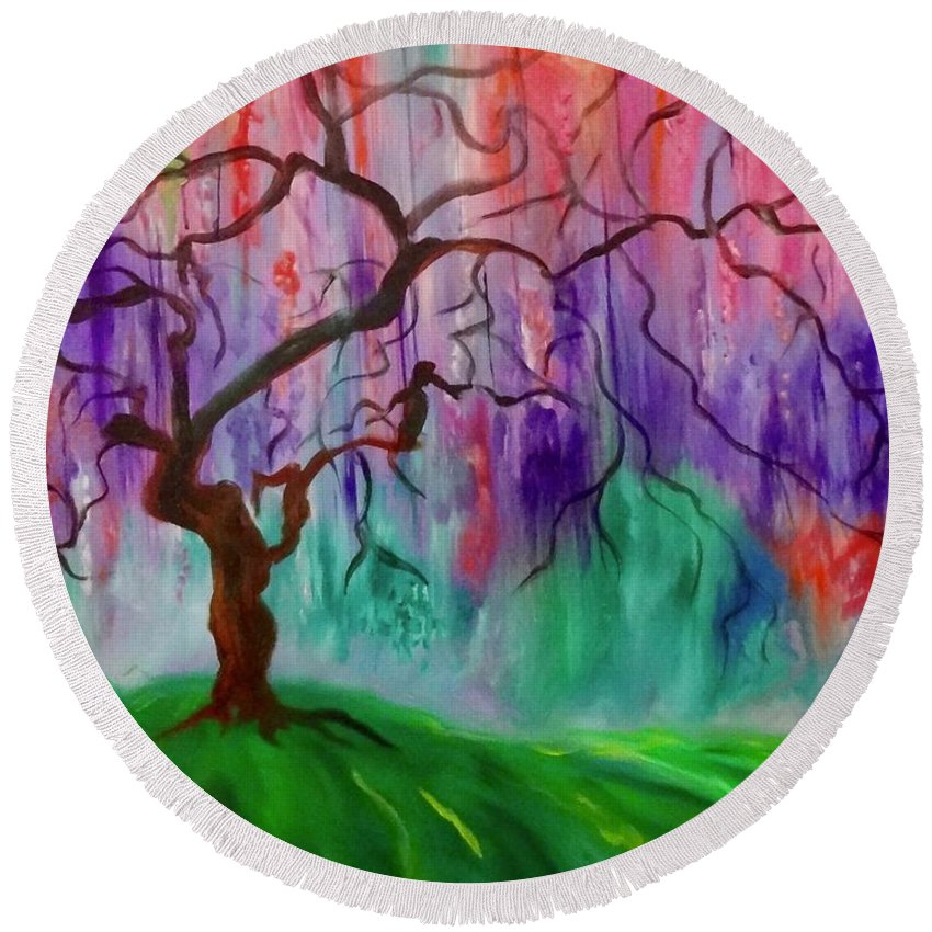 Corporate Art Taskforce Round Beach Towel featuring the painting Tree Of Life 111 by Jenny Lee