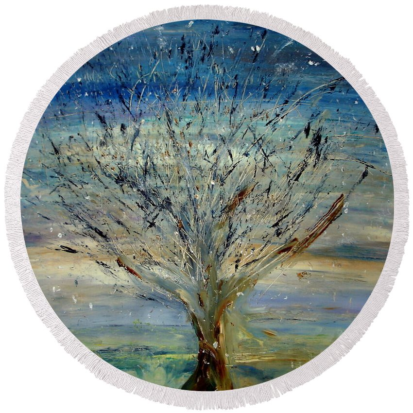 Round Beach Towel featuring the painting Tree Of Life by Martha Dolan
