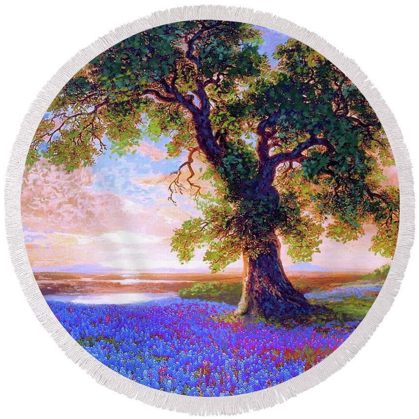 Sun Round Beach Towel featuring the painting Bluebonnets by Jane Small