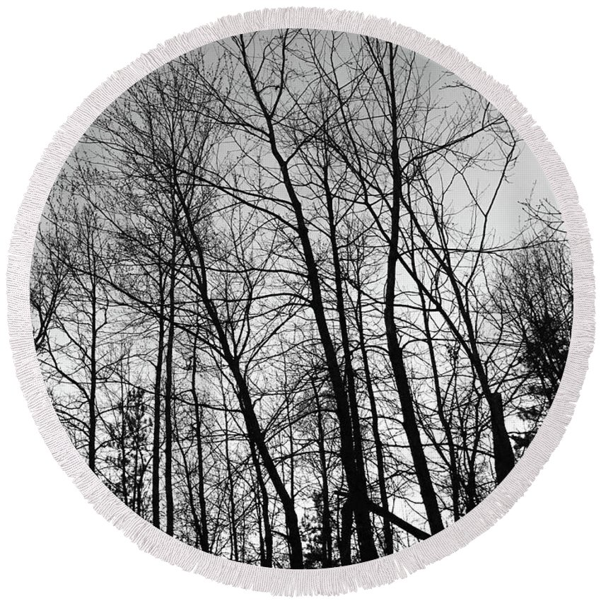Trees Round Beach Towel featuring the photograph Tree Silhouette Bw by Stephanie Hanson