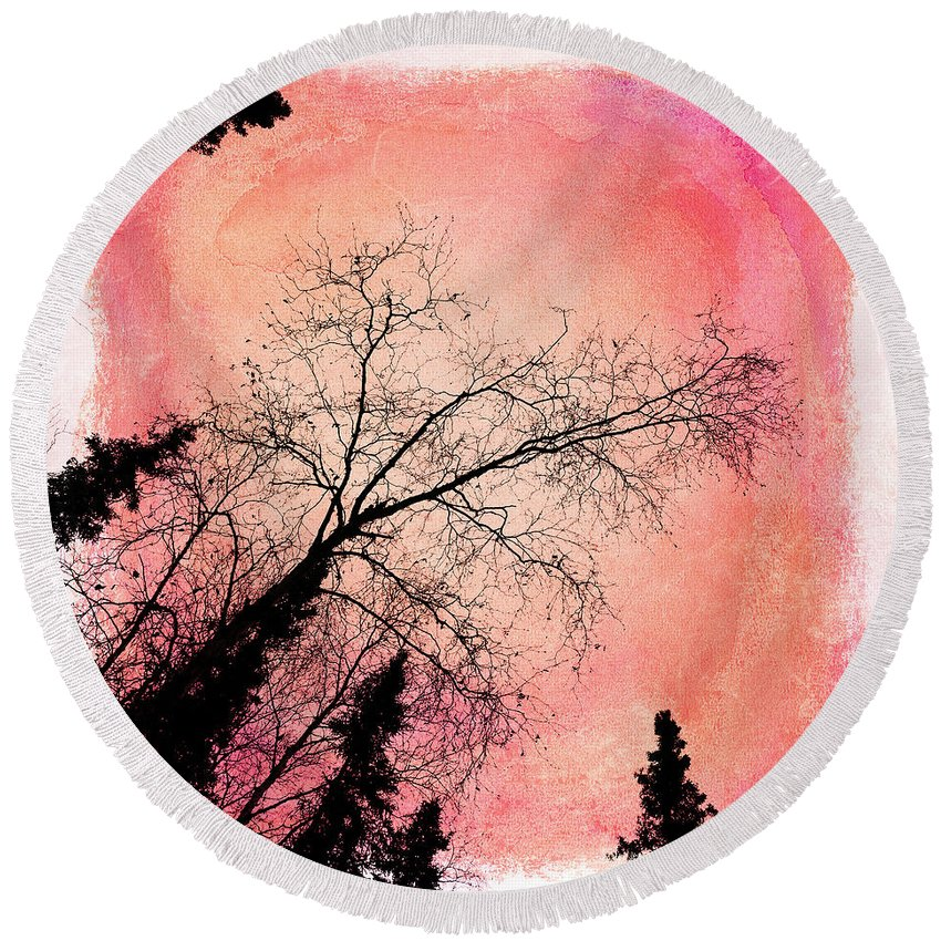 Tree Round Beach Towel featuring the photograph Tree Silhouettes I by Priska Wettstein