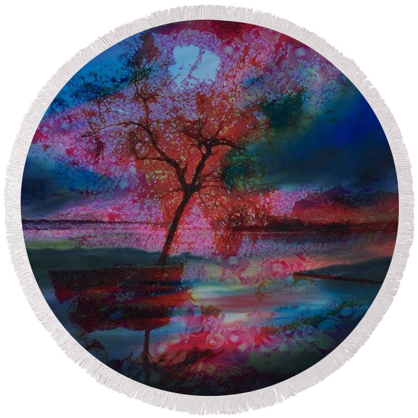 Tree Splat Fragmented Round Beach Towel featuring the digital art Tree Splat Fragmented by Catherine Lott