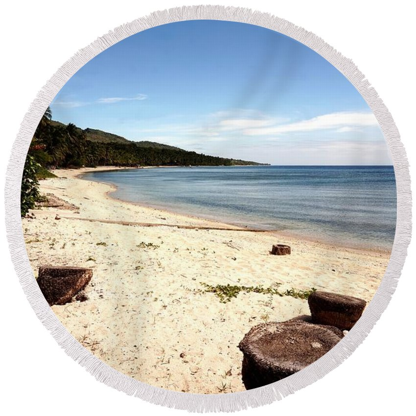 Beach Round Beach Towel featuring the photograph Tree Stumps On White Beach by Christopher Shellhammer