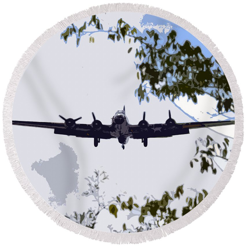 B 17 Round Beach Towel featuring the photograph Tree Top Fly Er by David Lee Thompson