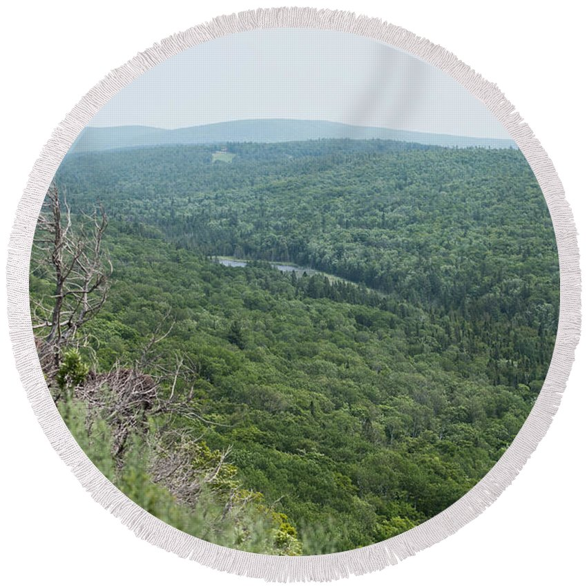 Tree Round Beach Towel featuring the photograph Tree Top Valley by Wesley Farnsworth