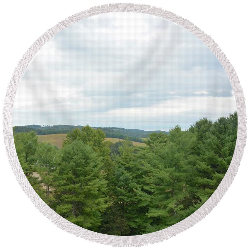 Landscape Round Beach Towel featuring the photograph Tree Tops by Amy Damron
