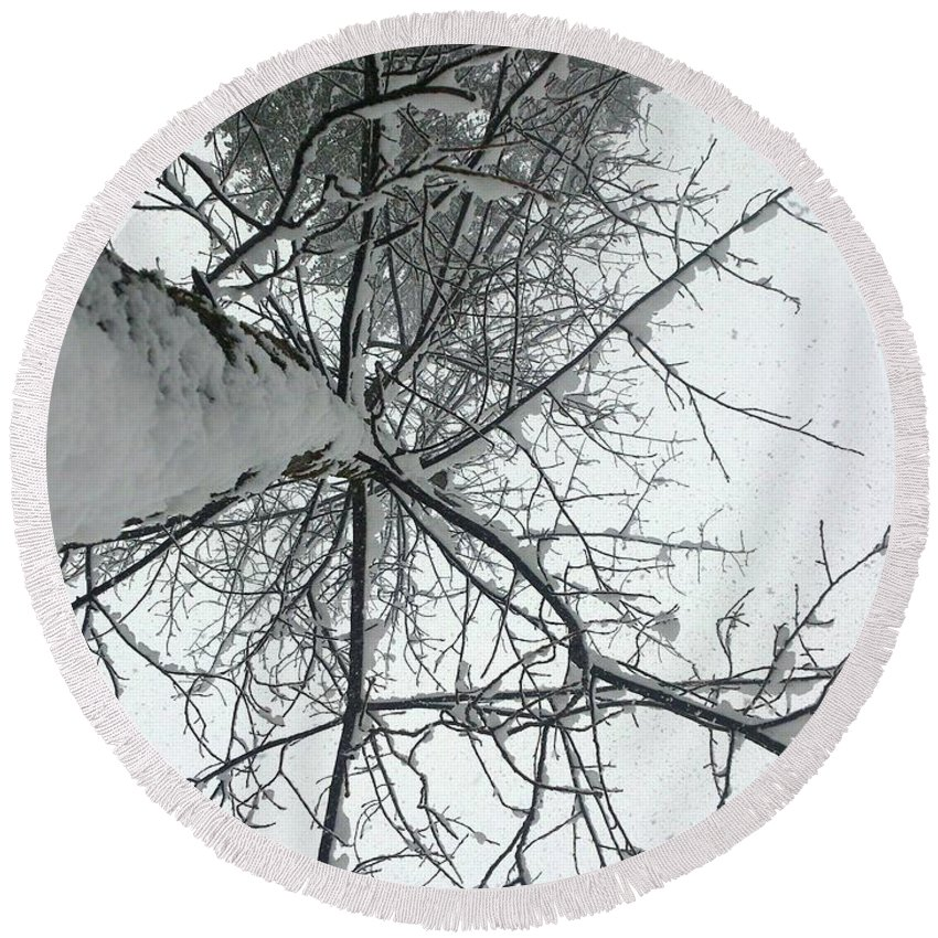 Tree Round Beach Towel featuring the photograph Tree Wrapped In Snow by Smita Shitole