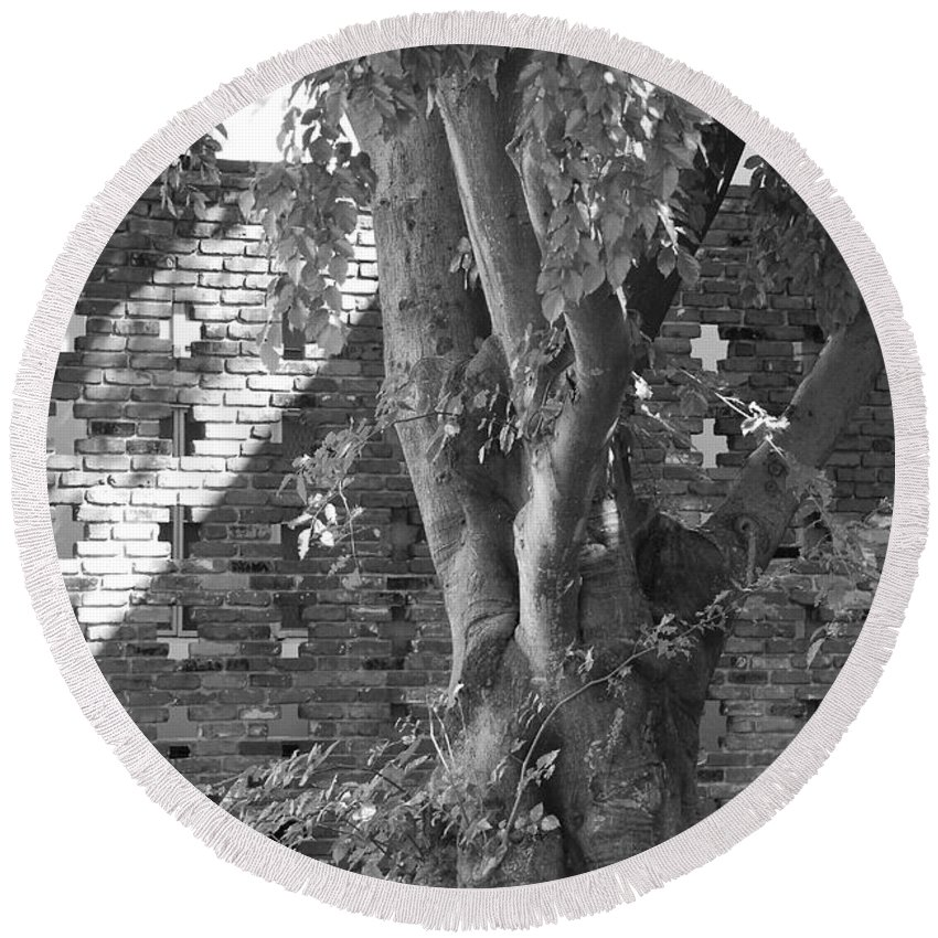 Trees Round Beach Towel featuring the photograph Trees And Brick Crosses by Rob Hans