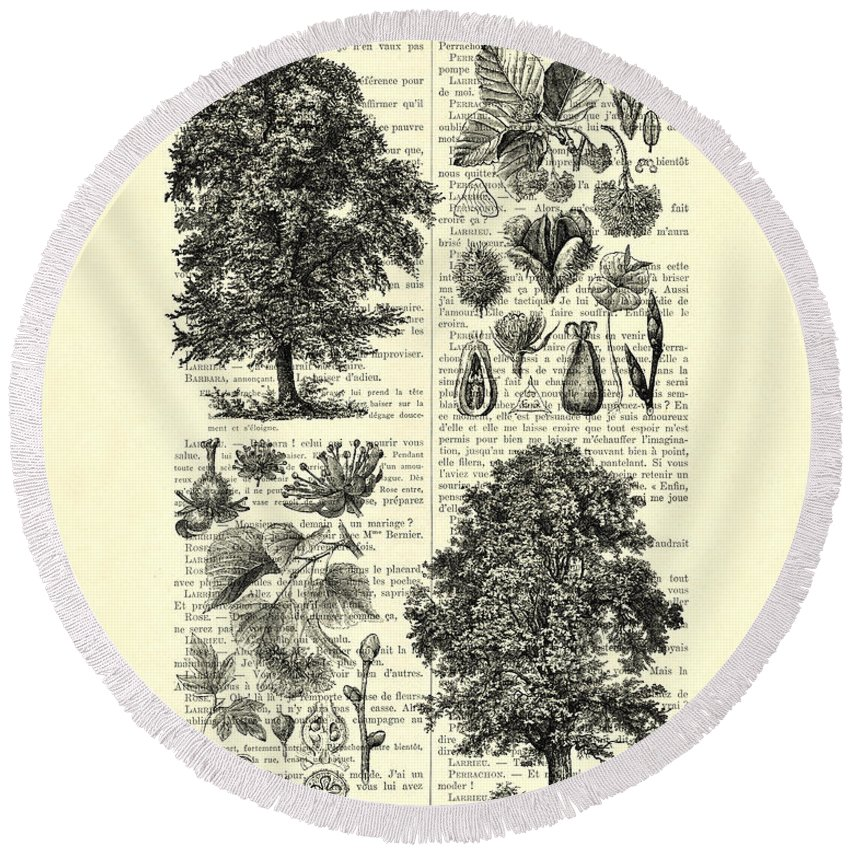 Tree Round Beach Towel featuring the digital art Trees And Seeds Black And White by Madame Memento