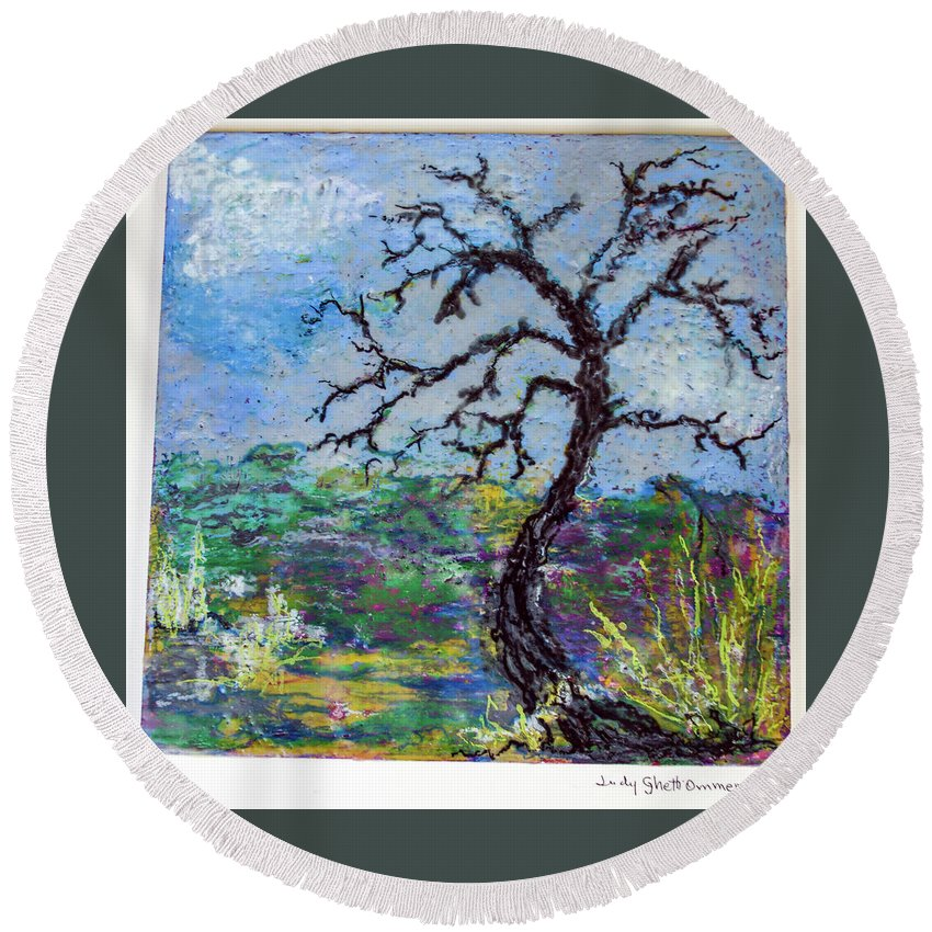 Oil Pastels On Wood Panel Round Beach Towel featuring the painting Tree's End by Judith Ghetti Ommen