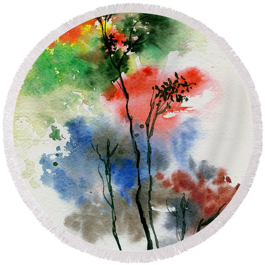 Trees Round Beach Towel featuring the painting Trees In Colors by Anil Nene