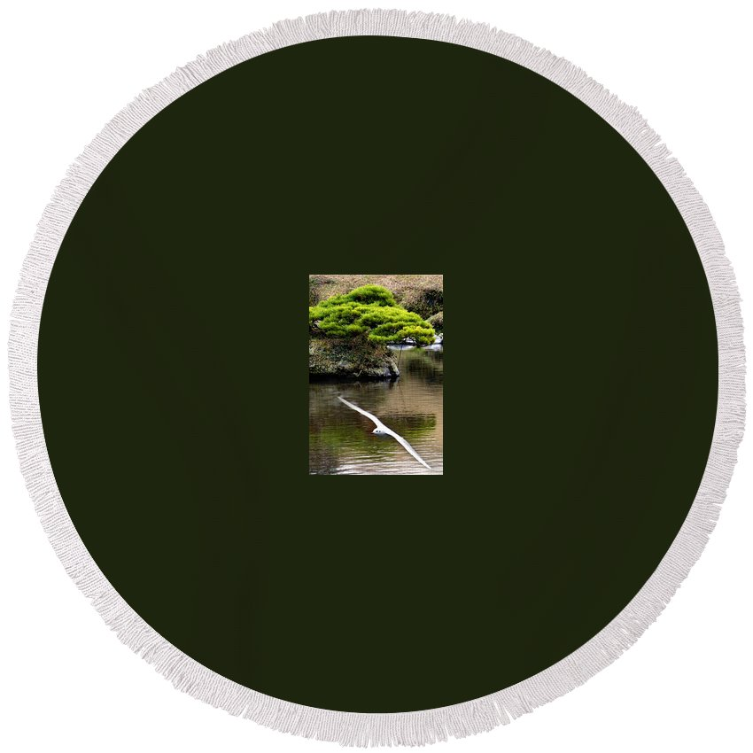 Trees Round Beach Towel featuring the photograph Trees In Japan 14 by George Cabig