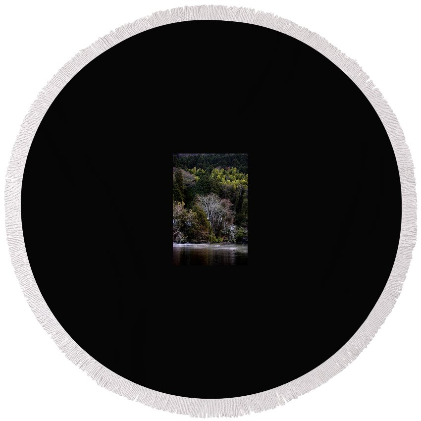 Landscape Round Beach Towel featuring the photograph Trees In Japan 2 by George Cabig